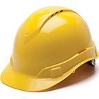 HARD HAT - YELLOW VENTED 4 PT RATCHET SUSPENSION