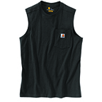 CARHARTT WORKWEAR POCKET SLEEVELESS T-SHIRT - BLACK