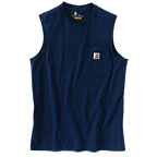 CARHARTT WORKWEAR POCKET SLEEVELESS T-SHIRT - NAVY
