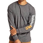 TIMBERLAND PRO LOGO SLEEVE BASE PLATE WICKING - DARK CHARCOAL