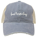"""BAD HAIR DAY"" MESH BACK POLYFLO CAP - BLUE"